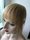 Накладная челка из натуральных волос блонди (светло русого оттенка), натуральная чёлка на заколках, фото 6