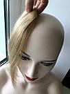 Накладная челка из натуральных волос блонди (светло русого оттенка), натуральная чёлка на заколках, фото 8