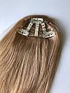 Накладная челка из натуральных волос блонди (светло русого оттенка), натуральная чёлка на заколках, фото 9