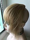 Накладная челка из натуральных волос блонди (светло русого оттенка), натуральная чёлка на заколках, фото 10