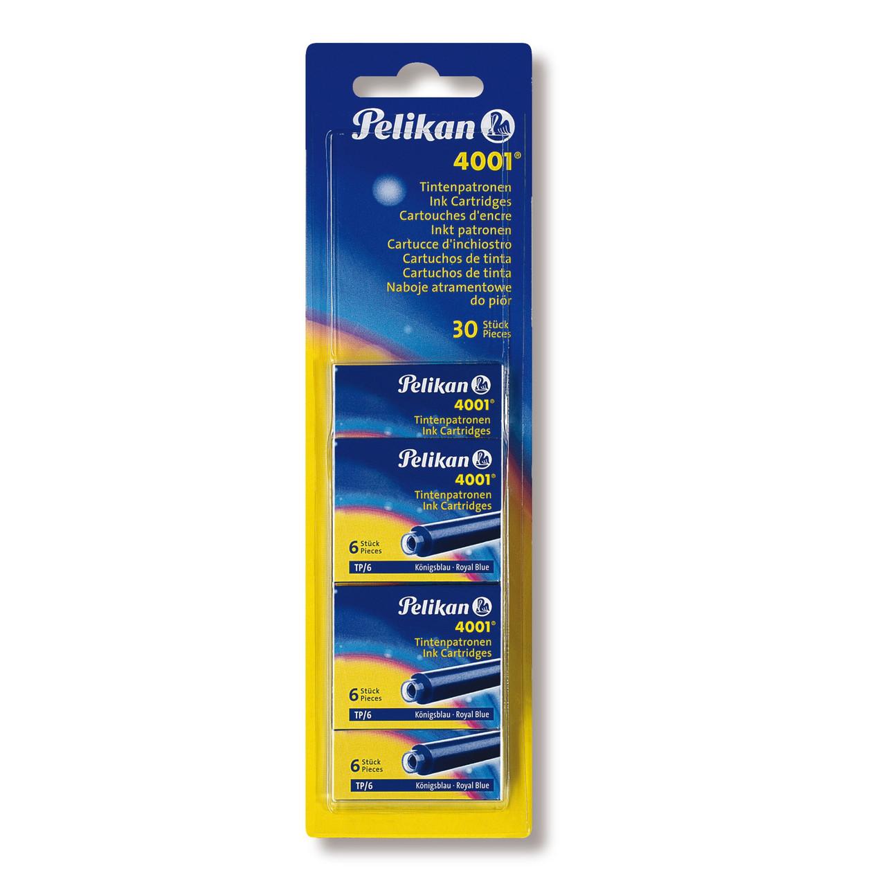 Чорнильні картриджі короткі 30шт Pelikan 4001 Royal Blue сині що стираються