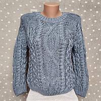 Укороченный свитер с узорами - цвет джинс