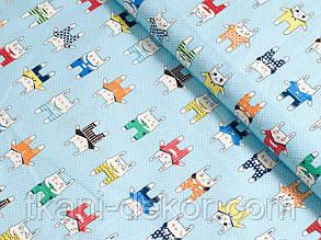 Сатин (хлопковая ткань) зайцы в штанах на голубом