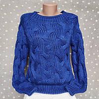 Шерстяной свитер - красивая объемная вязка Турция - синий цвет