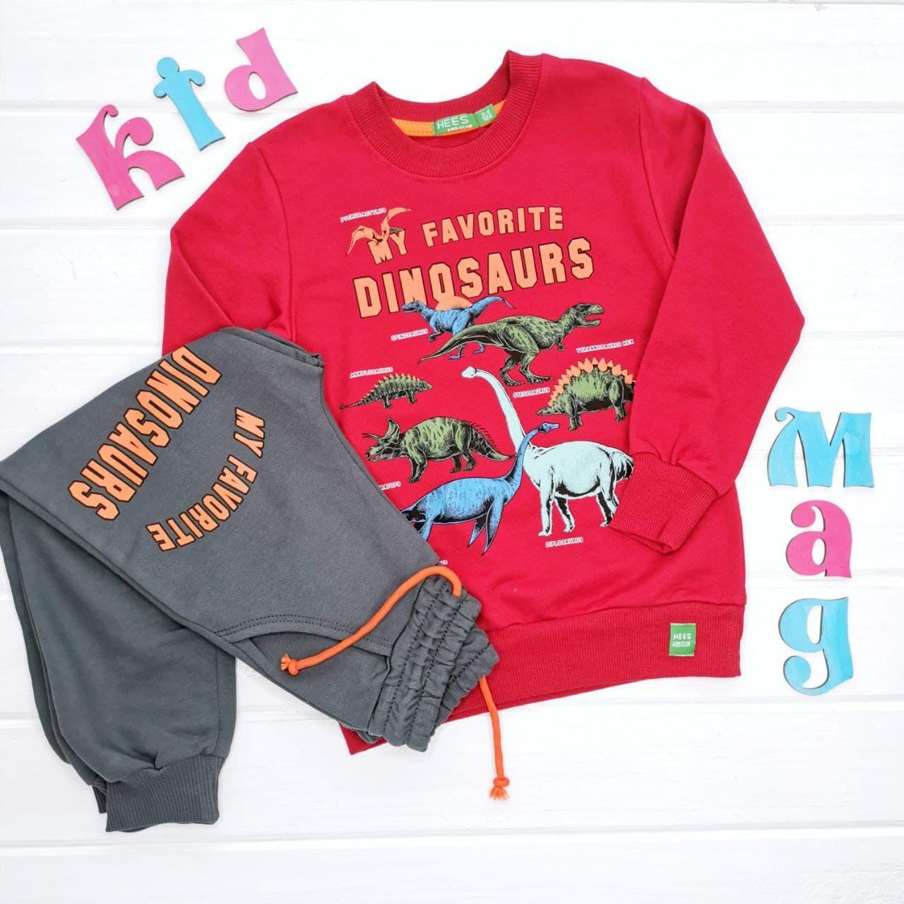 """Костюм хлопковый (двунитка) для мальчика """"My favorite dinosaurs"""" на 2, 4 и 6 лет"""