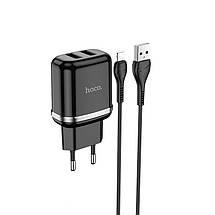 Сетевое зарядное устройство Hoco N4 (комплект с кабелем Lightning, для iPhone) 2USB, 2,4A Black, фото 3