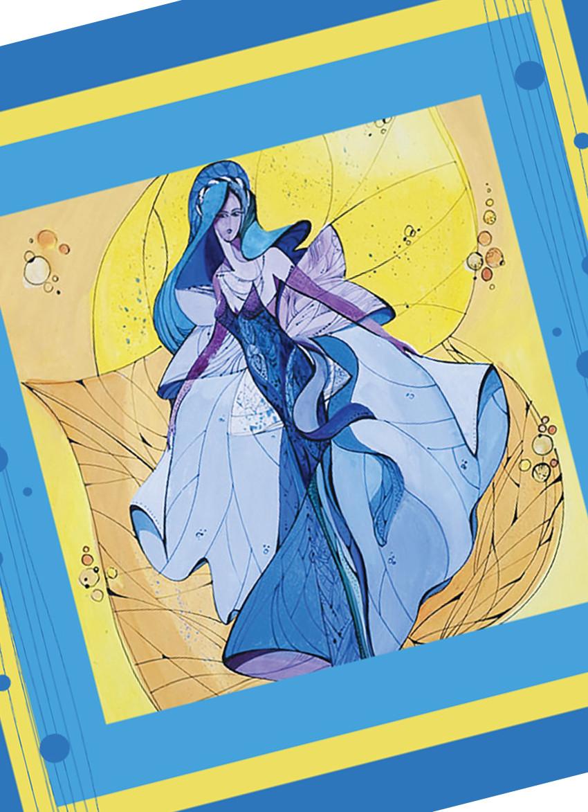 """Дизайнерський шовковий платок """"Фея блакитних снів"""""""