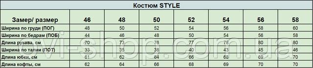 Таблица замеров