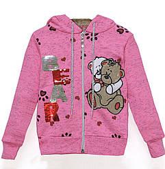 Кофта утепленная  для девочки,  с начесом и капюшоном, рисунок Мишка, пайетки, Narmini (размер 1(86))