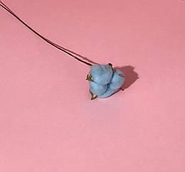 Хлопок сухоцвет ветка голубой