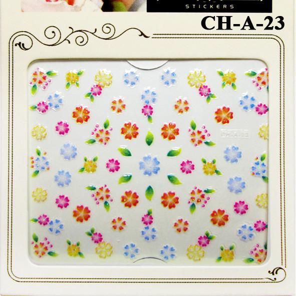 Наклейки для Ногтей Самоклеющиеся 3D Nail Sticrer CH-A-23, Веселые Разноцветные Цветы, Декоры для Ногтей