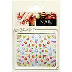 Наклейки для Ногтей Самоклеющиеся 3D Nail Sticrer CH-A-23, Веселые Разноцветные Цветы, Декоры для Ногтей, фото 2
