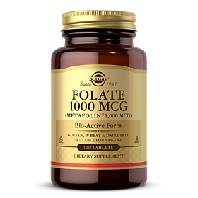Фолієва кислота, Folate, Solgar, фолат, 1000 мкг, 120 таблеток