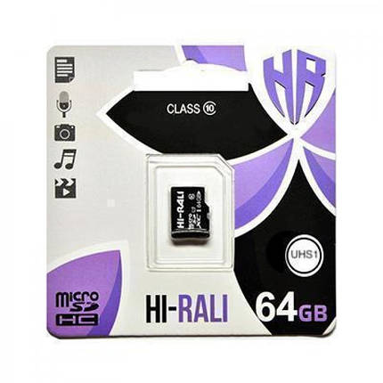 Карта памяти microSDHC (UHS-1) 64GB class 10 Hi-Rali, фото 2