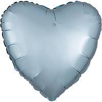 """Фольгированный шар Anagram Сердце 18"""" (46 см) сатин светло голубое"""