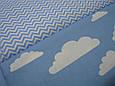 Сатин (хлопковая ткань) на голубом фоне белые тучки (мелкие точки изредка по ткани), фото 3