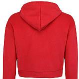 Худи однотонные короткие красные для девушек хб с капюшоном, фото 3