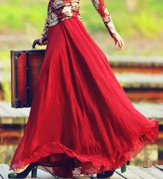 Женская красная шифоновая юбка макси