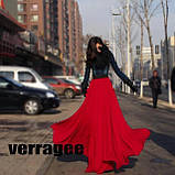 Женская красная шифоновая юбка макси, фото 2