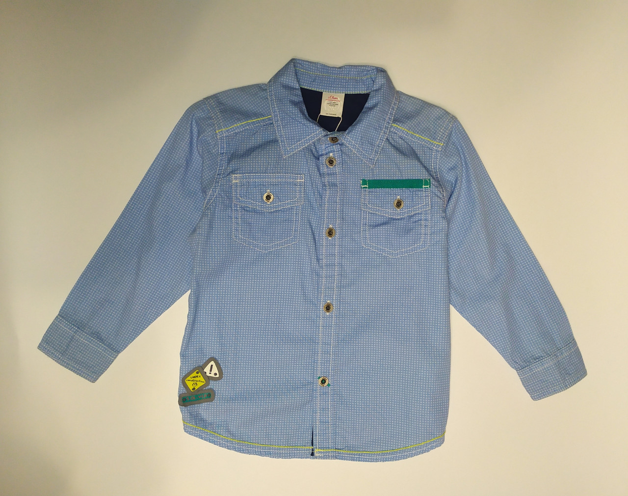 Рубашка синяя в клеточку s.Oliwer  р.92см.