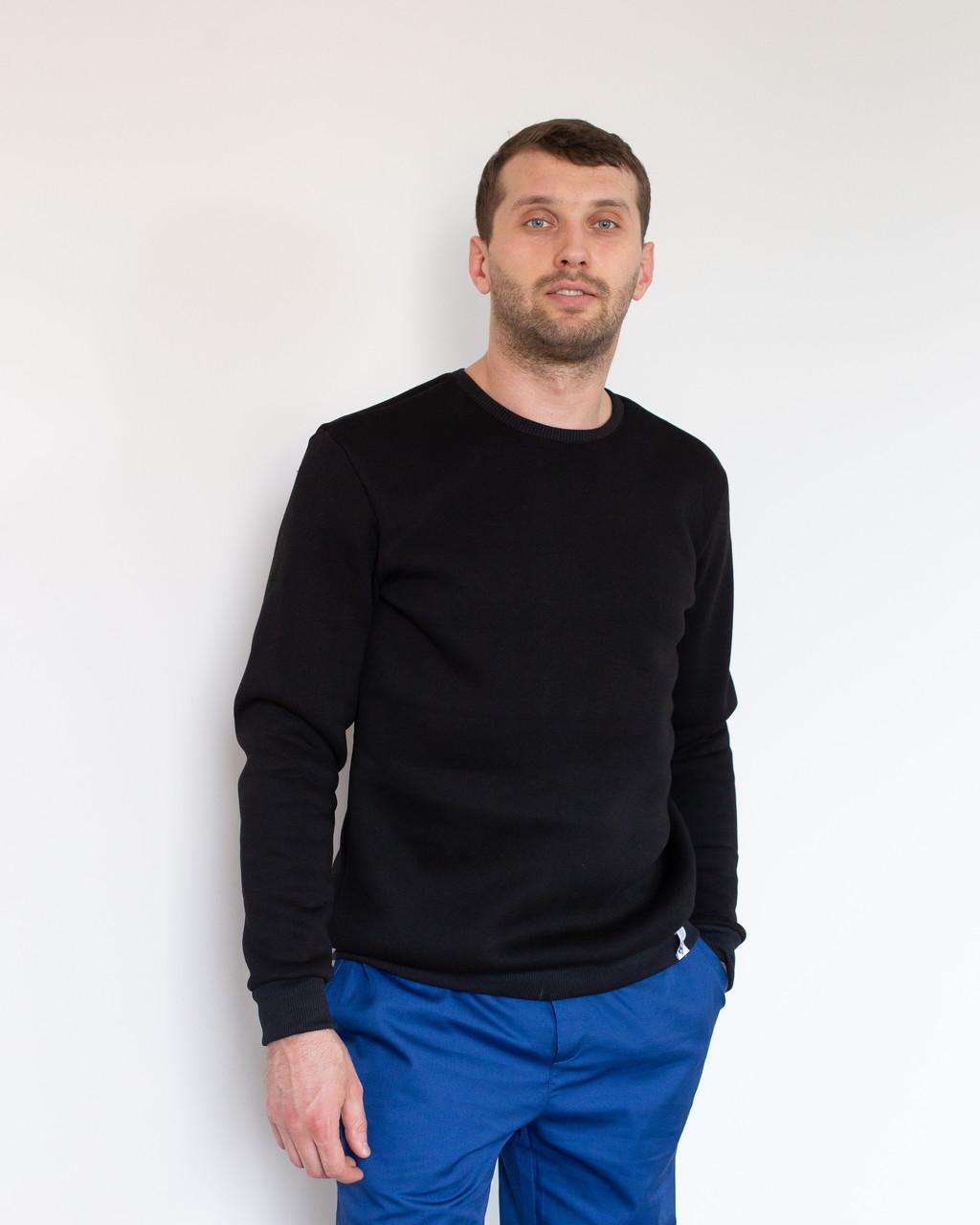 Теплый мужской свитшот с начесом черный