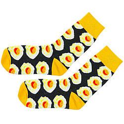 Шкарпетки яєчня з принтом шкарпетки жовто-чорні, модні високі шкарпетки р. 37-41