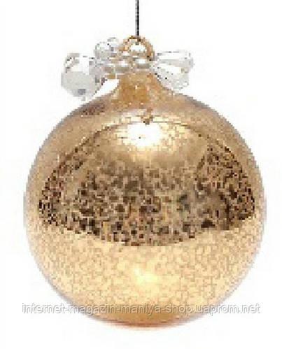 Елочный шар - античное золото с декором из бусин