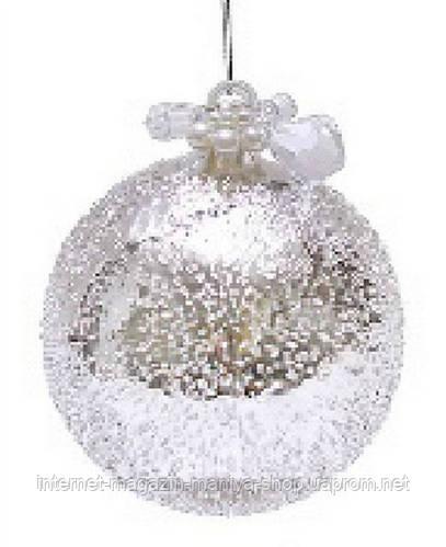 """Елочный шар - серебро с покрытием """"лёд"""", с декором из бусин и жемчуга"""