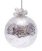 """Елочный шар - серебро с покрытием """"лёд"""",с декором из бусин и жемчуга"""