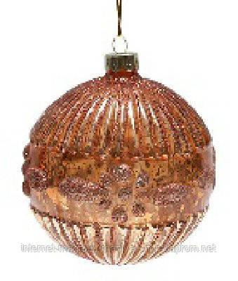 Елочный шар с орнаментом, цвет - медь - антик
