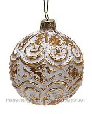 Елочный шар 8см антик золото с белым
