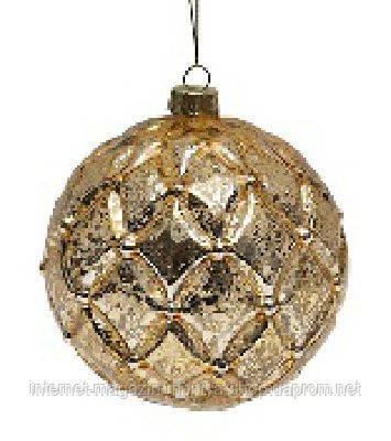 Елочный шар 10см антик золото