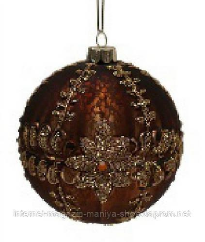 Елочный шар 10см коричневый с кристаллами