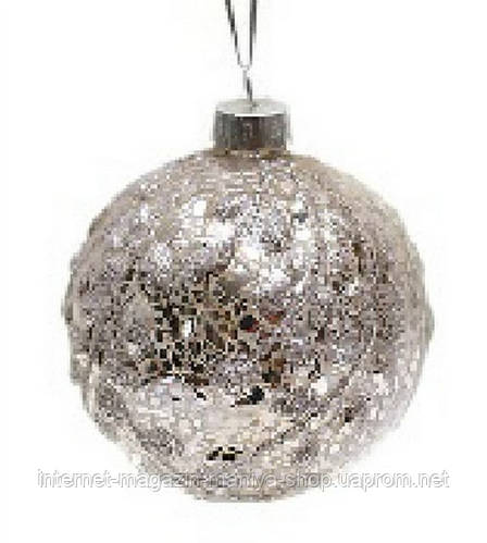 Елочный шар 8см серебро антик