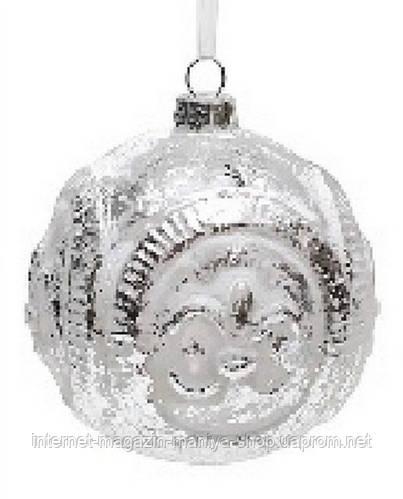 Елочный шар 8см белый с сереброи