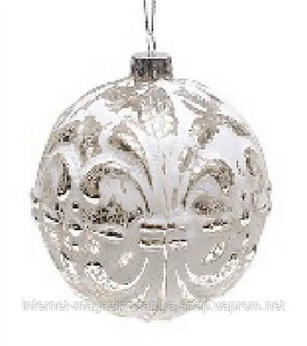 Елочный шар 10см серебро антик с белым