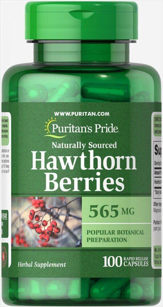 Puritan's pride Hawthorn Berries 565 mg, Экстракт боярышника (100 капс.)