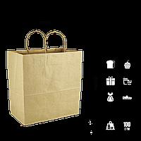 Бумажный пакет крафтовый с кручеными ручками 320*160*280мм (Ш.Г.В) Пл 100г Нагр 6кг (1072), фото 1