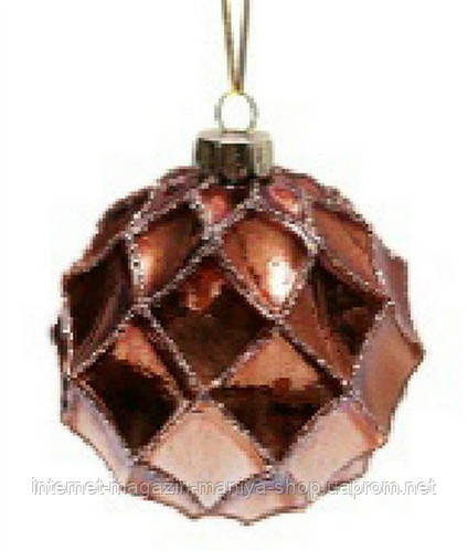 Елочный шар 8см коричневый