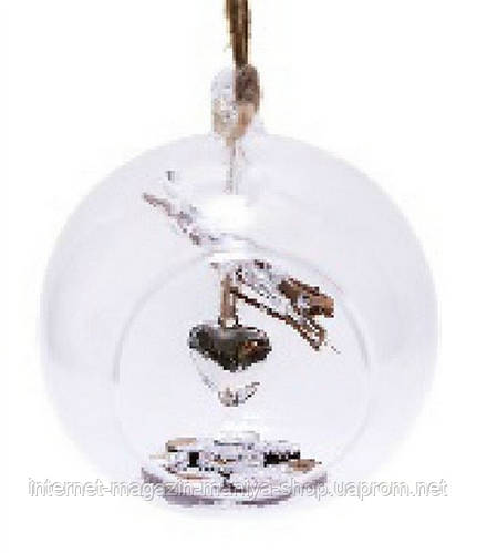 Елочный шар 10см прозрачный внутри с декором