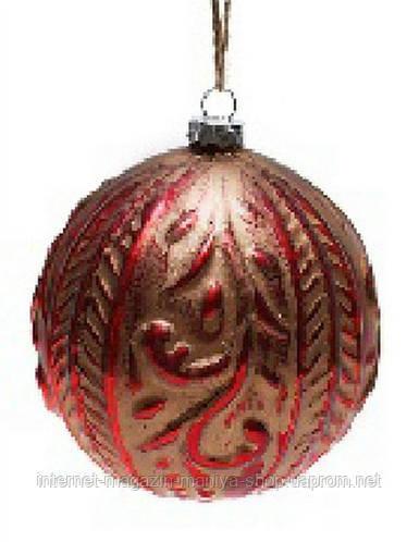 Елочный шар 10см антик красный