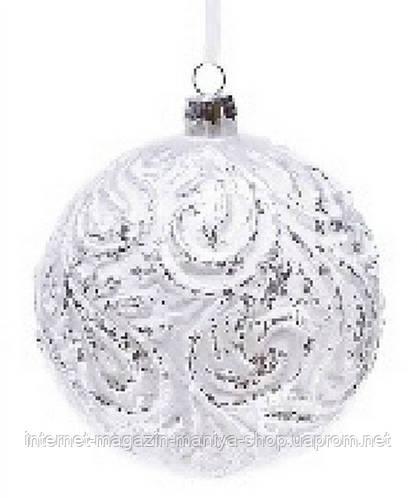 Елочный шар серебро с патиной, 10 см