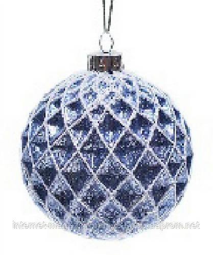 Елочный шар, синий с серебром