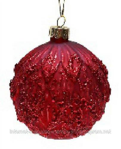 Елочный шар красный с блестками и пайетками