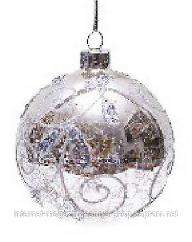 Елочный шар - античное серебро с узором, 8 см