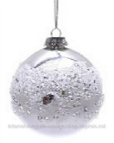 Набор шаров 8см (2) серебро с кристаллами