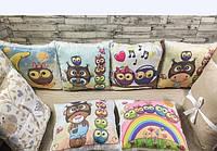 Набор защиты с 12 бортиков подушек в детскую кроватку, Защита-бортики подушки и простынь на резинке