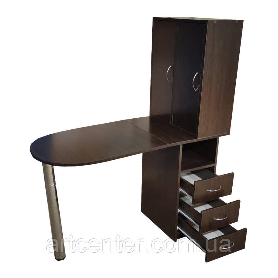 Маникюрный стол со шкафчиком над столешницей и ящиками