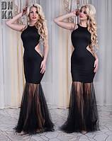 Вечернее черное платье со шлейфом Турция