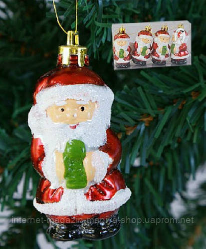 """Набор елочных игрушек """"Санта"""" (4), 7см"""